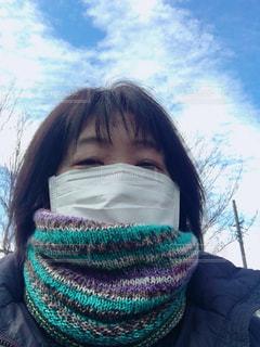 風邪予防には、マスク&マフラーの写真・画像素材[1676068]