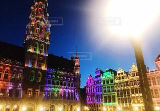 建物,夜,海外,カラフル,世界遺産,ヨーロッパ,景色,美しい,ライトアップ,旅行,ベルギー,海外旅行,ブリュッセル,色鮮やか,フォトジェニック,グランプラス広場,大広場