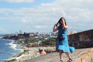 プエルトリコ エルモロ要塞とオールドサンファンの街並みの写真・画像素材[1825121]