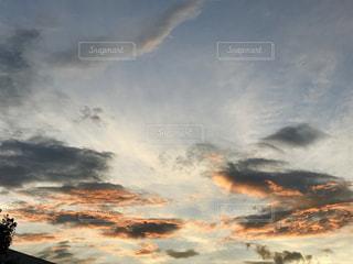 秋,雲,夕暮れ,秋空