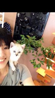 猫と笑顔の女の写真・画像素材[1384330]