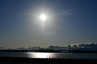 空,太陽,白,雲,青,反射,光,河
