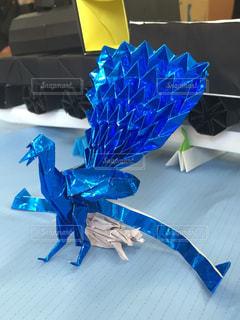 青,折り紙,複雑,フェニックス,メタリック,精巧,不死鳥,琴ドリ