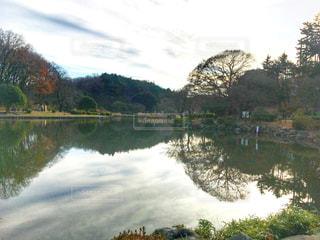 流れる雲と同化する大池の写真・画像素材[1241116]