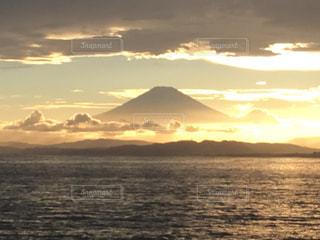 自然,風景,海,空,夏,夕日,富士山,屋外,雲,夕暮れ,江ノ島,江の島