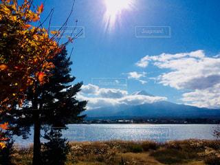 空,秋,富士山,河口湖,秋空