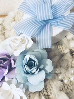 バラとストライプのリボンの写真・画像素材[1375481]