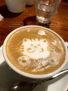 ネコのふわふわラテアートの写真・画像素材[2288244]