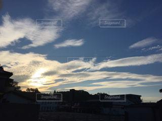 空,朝日,雲,爽やか,秋空