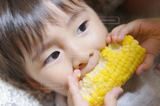 秋,食卓,北海道,子供,リラックス,美味しい,男の子,思い出,食いしん坊,とうもろこし,食欲の秋
