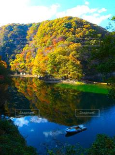 神龍湖の紅葉とシンメトリーの写真・画像素材[1597558]