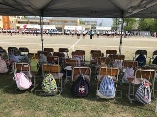 椅子,紅白,テント,運動会,小学校,グラウンド,体操服