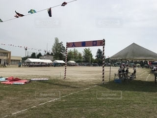 紅白,旗,テント,運動会,小学校,グラウンド,体操服,入場口