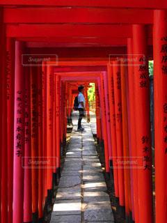 近くの背景に赤いドアと伏見稲荷大社の写真・画像素材[1373356]