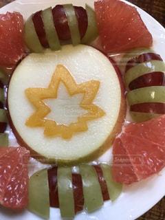 デザート,果物,ブドウ,グレープフルーツ,新鮮,柿,リンゴ,スライス