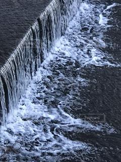 冬,川,水面,水しぶき,京都府,流れ,堰,精華町,山田川