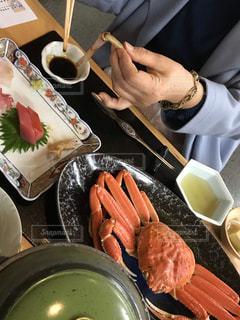 女性,食べ物,食事,皿,レストラン,料理,晩御飯,刺身,カニ,京都府,天の橋立,宮津