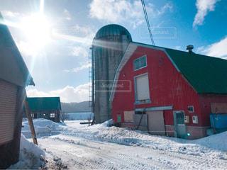 旧牛舎と冬の写真・画像素材[1759994]