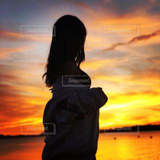 猪苗代湖の夕暮れの写真・画像素材[1446159]