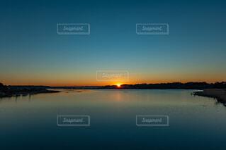 風景,空,朝日,水面,正月,ブルー,お正月,日の出,新年,初日の出,沼,ブルーアワー