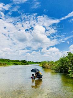 夏の川遊びの写真・画像素材[1424269]