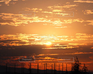 風景,空,秋,太陽,赤,雲,朝焼け,朝