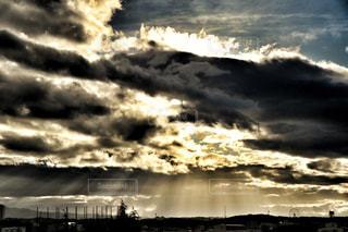 風景,秋,雲,カーテン,曇り,日差し,光,秋空