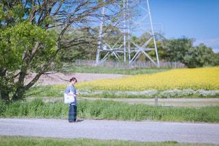 草の上に立っている小さな女の子の写真・画像素材[2271211]