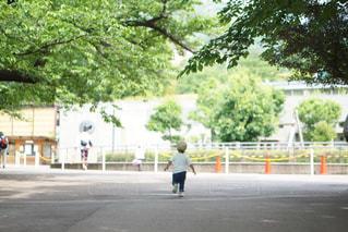 道路の脇にスケートボードに乗っている人の写真・画像素材[2114501]