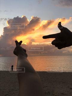 女性,男性,恋人,友だち,2人,海,空,動物,屋外,太陽,ビーチ,雲,夕暮れ,水面,光,くもり