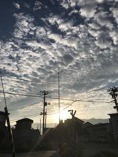 空,屋外,朝日,雲,福島会津