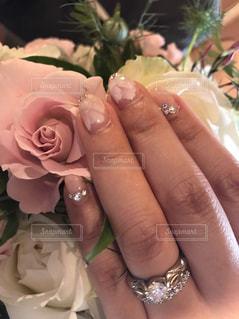 花,ネイル,ピンク,ブライダル,エンゲージリング