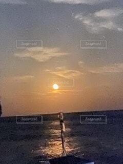 自然,空,屋外,太陽,ビーチ,雲,夕暮れ,水面