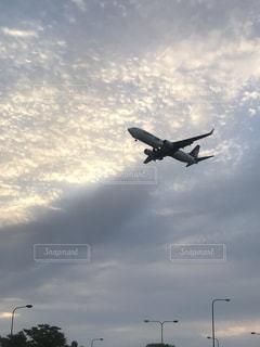 空,秋,雲,夕暮れ,飛行機,飛ぶ,旅行,航空機,くもり,秋空,ジェット