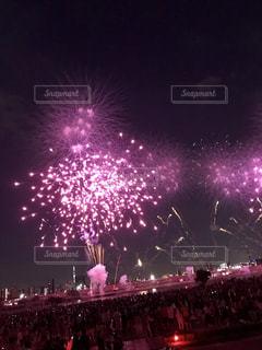 空,花,夜,屋外,ピンク,花火,明るい,景観