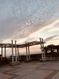 空,秋,夕日,屋外,雲,夕陽,秋晴れ,秋空,いわし雲,インスタ映え