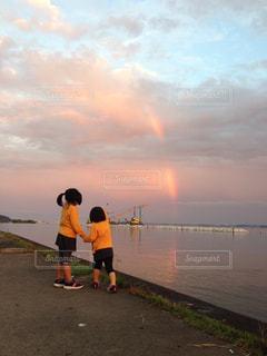 霞ヶ浦にかかる虹の写真・画像素材[1433352]