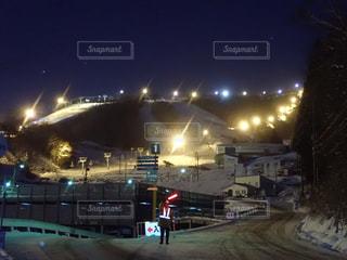 夜景,雪山,ナイター,スノーボード,ウィンタースポーツ