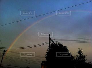 空,秋,屋外,雲,夕暮れ,虹,電線,秋空,景観