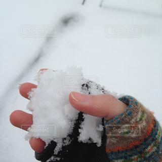 雪に覆われたケーキを持つ手の写真・画像素材[1806970]