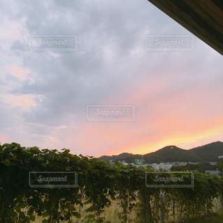 自然,空,秋,屋外,雲,夕暮れ,夕方,山,背景,秋空