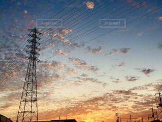 風景,空,秋,大阪,雲,夕焼け,うろこ雲,秋空