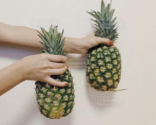 パイナップルを持っている人の写真・画像素材[1828384]