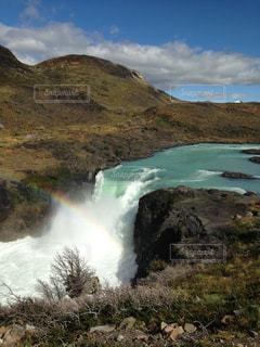 パイネ国立公園の滝の写真・画像素材[1448389]