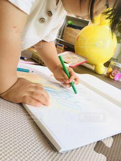 子供,ペン,人,色鉛筆,紙,おえかき,おうち時間