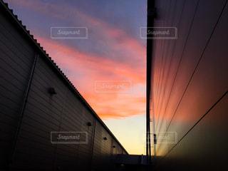 風景,空,雲,夕焼け,工場,夕景,夕焼け雲,秋空