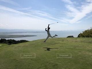 海,空,スポーツ,楽しい,ゴルフ,のんびり,決定的瞬間,ナイスポーズ