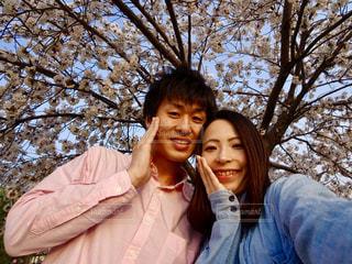 桜の下の写真・画像素材[1779092]