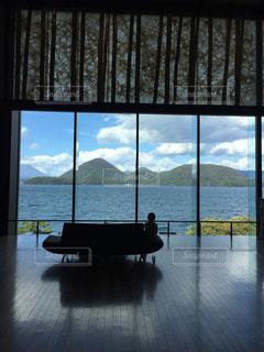 湖,雲,島,窓,景色,ソファー,秋空