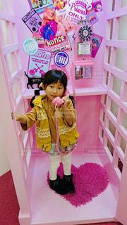 ピンク,子供,女の子,電話,桃色,電話ボックス,pink,インスタ映え